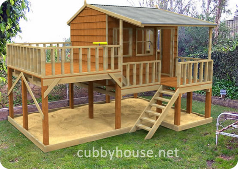 Country cottage cubby house australian made backyard for Elevated small house design