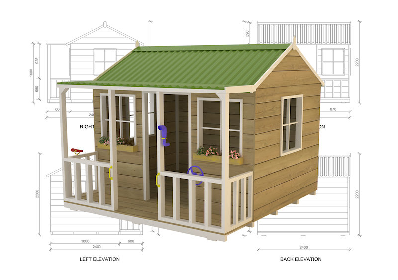 Wallaby Lodge Cubbyhouse, australian-made, outdoor playground equipment, diy cubby house kits, cubby houses
